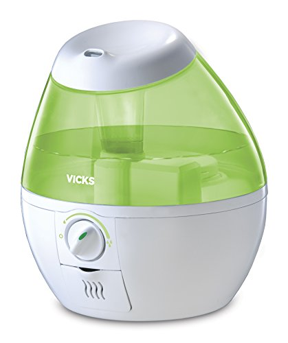 Product Image of the Vicks Mini Filter Free Cool Mist Humidifier Small Humidifier for Bedrooms, Baby, Kids Rooms, Auto-Shut Off, 0.5 Gallon Tank for 20 Hours of Moisturized Air, Use with Vicks VapoPads, Green