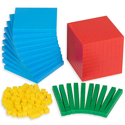 edxeducation Four Color Plastic Base Ten Set - 121 Pieces - Hands-on Math Manipulative for Kids - Teach Number Concepts, Place Value and Measurement - Math Learning Tools for Kids