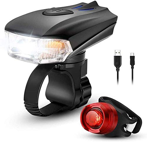 MEEY Bicycle Lights Bicycle Light Bicycle Light Set with USB Automatic Light Setting 4 Light Modes Rechargeable incl IPX5 Water.