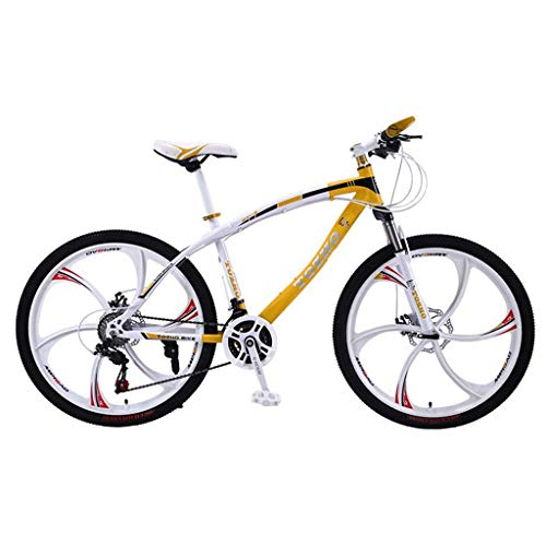 Mountain Bike,Carbon Steel Frame Hardtail Mountain Bicycles,26inch Mag Wheel,Dual Disc Brake and Front Suspension (Color : Yellow, Size : 24 Speed)