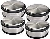 LATERN - Tope para puerta (4 unidades, acero inoxidable, 1,2 kg, diámetro 10 cm, antideslizante), diseño moderno y redondo