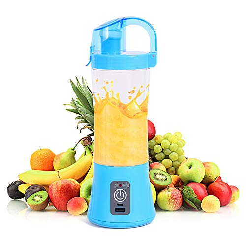 XUE-BAI 380ML Portable Blender, Mini Juicer Cup Household, Fruit Extractor and Mixer with USB Rechargeable and 2 PCS Blades for Traveling Working Outdoors/Blue