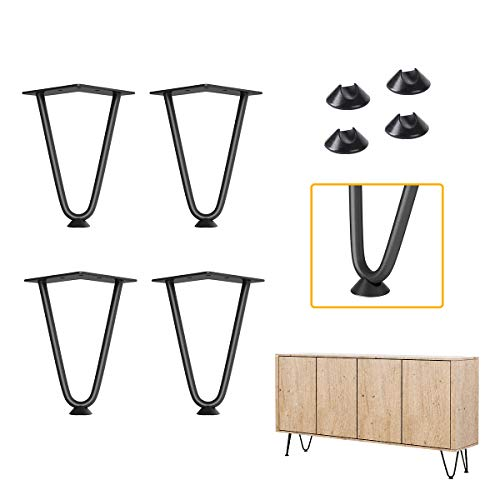 Genius Iron 6' Furniture Hairpin Legs, 3/8' Thick Set of 4, for TV Stand,Sofa Cabinet,Night Stands,etc
