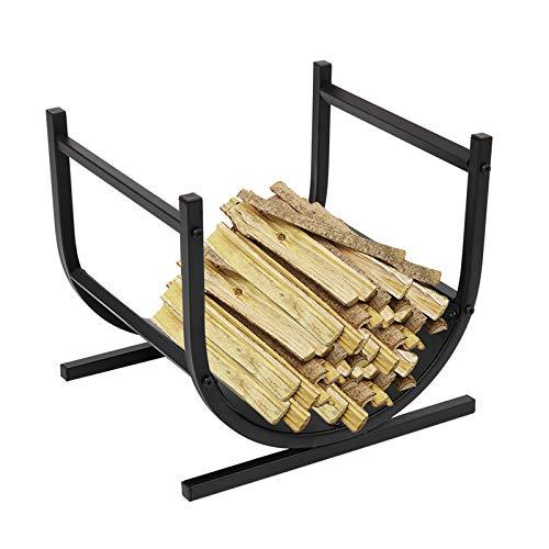 Firewood Holder Curved Heavy Duty Indoor/Outdoor Firewood Racks Log Rack Half Round for Wood Storage Black