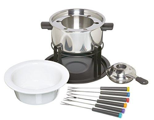Kitchen Craft Set fonduta con ciotole in ceramica e acciaio INOX e 6 forchette