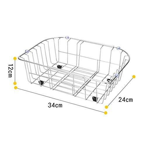 Porte-vaisselle Cuisine en acier inoxydable Évier Drain Basket Légumes Filtrer Panier Télescopiques Plateau de fuite Plate-forme de piscine 34 * 24 * 12cm (taille : 34 * 24 * 12CM)