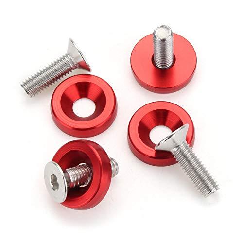 JIEIIFAFH 20pc M6 Billet 6061 Lavadora de Aluminio de Parachoques con Perno Rojo