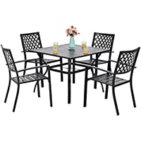 PHI VILLA 5-Piece Patio Armrest Dining Chairs and Larger Square Table Set
