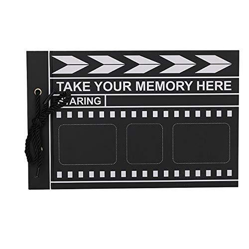 HSLJ1 Album de fotos del libro de recuerdos de la memoria libro Claqueta Diseño chatarra libro con 80 páginas Negro Película presente temático bricolaje recargable Memoria Encantador y pequeño libro d
