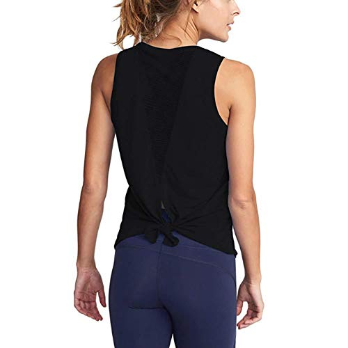 XITANG Yoga Fitness Chaleco Deportivo Mujer Fitness sin Mangas Camisa Mesh Yoga Open Knot Tie Back Fitness Vest (1pc) Negro