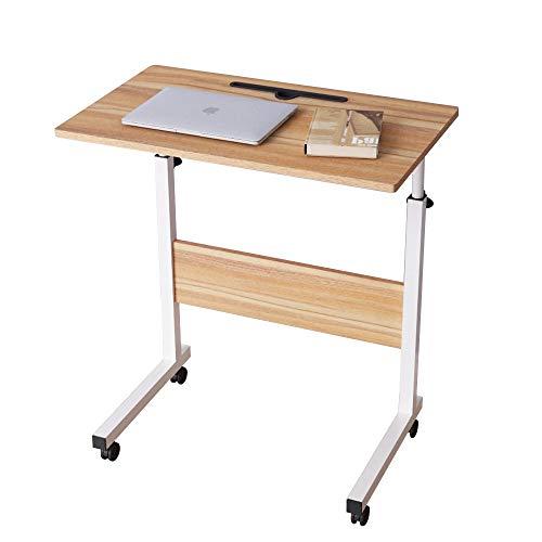 SogesHome Laptop Table 60 x 40 cm,Standing Height Adjustable Computer Desk, Computer desk with Card Slot,Stand Desk Side table for Bed Sofa Hospital Nursing Reading Eating, Oak 05#3-60OK-SH
