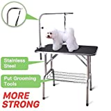 Polar Aurora Pingkay 30'' Black Heavy Duty Pet Professional Dog Show Foldable Grooming Table w/Adjustable Arm & Noose & Mesh Tray