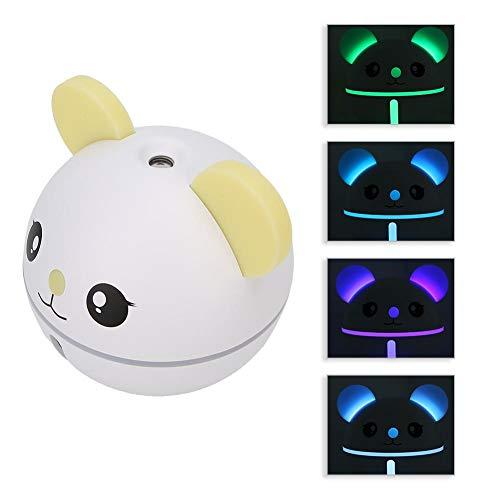 Mini Cartooon LED luchtbevochtiger luchtreiniger, USB 200ML draagbare thuiskantoor sferische koele mist luchtbevochtigers met ademlicht Zomer koele luchtbevochtiger Beste leuke decoratie(Geel)
