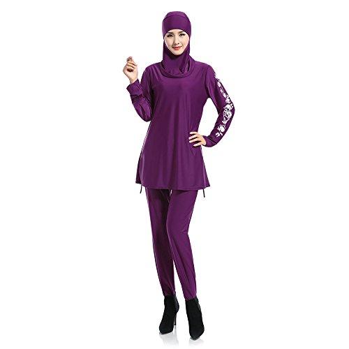 KINDOYO Femmes Musulmanes Maillot de Bain Modeste Couverture complète Beachwear Islamique Burqini Burkini Bleu/Violet/Rouge/Noir