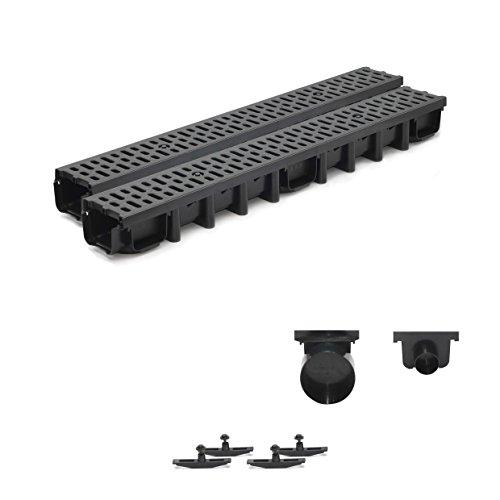 2m Entwässerungsrinne für modulares System A15 98mm, komplett Stegrost Kunststoff, Schwarz Classic