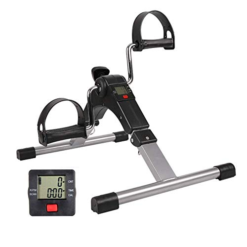 JSIKING Folding Pedal Exerciser,Under Desk Cycle,Physical Therapy Leg and Arm Exercisers Peddle,Mini Stationary Bike