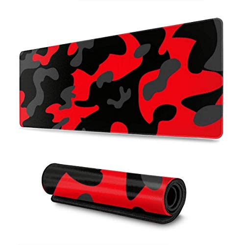 GamingMouse Pad Red and Black Camouflage Design Pattern XXL XL Large Gaming Mouse Pad Mat Long Extended Mousepad Desk Pad Non-Slip Rubber Mice Pads Stitched Edges (31.5x11.8x0.12 Inch)
