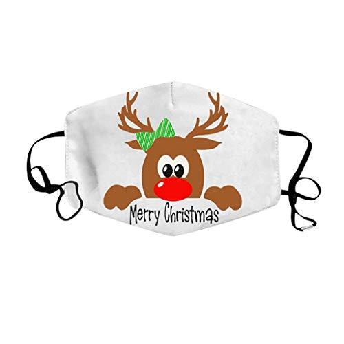 Mundmaske 3D,Mund und Nasenschutz,Weihnachts Motiv Drucken Waschbar, Atmungsaktiv Stoff Bandana Halstuch Tuch, Staubschutzmaske für Damen, Herren, 5 Stück