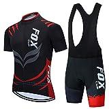 Hombres Ciclismo Jerseys Set Bike Jerseys Shorts con 9D Gel Pads (Rojo-1,XXS)