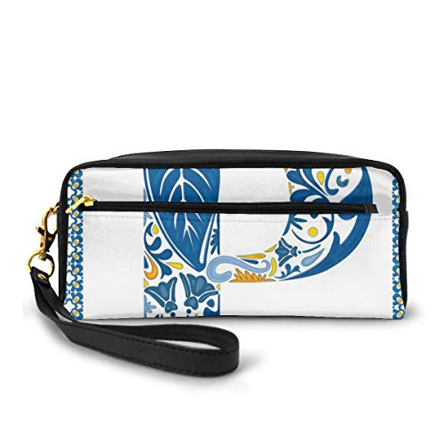 Pencil Case Pen Bag Pouch Stationary,Floral Motifs Swirls Tropical Rainforest Vegetation Retro Mosaic Motifs,Small Makeup Bag Coin Purse