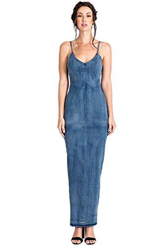 Standards & Practices Modern Women's V-Neck Indigo Tencel Denim Slip Maxi Dress Size L
