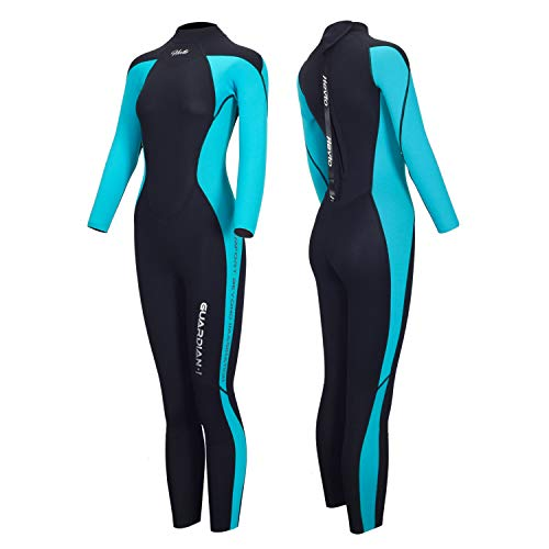 Hevto Wetsuits Women 3mm Neoprene Full Scuba Diving Suits Surfing Swimming Long Sleeve for Water Sports (Blue Women Ⅰ, XLS)