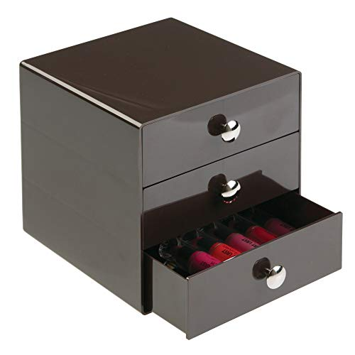 Price comparison product image iDesign Drawers Storage Box with Drawers for Make-Up,  Compact Cosmetic Organiser for Countertops or Wardrobes,  Sturdy Plastic,  Bronze