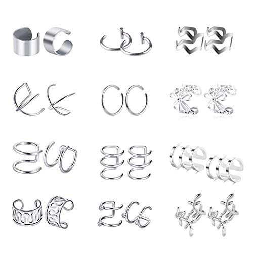 EUYuan 12 Pairs Ear Cuffs, Silver Stainless Steel Clip on Earrings Helix Cartilage Plugs Set for Men and Women Accessories (No Piercing)