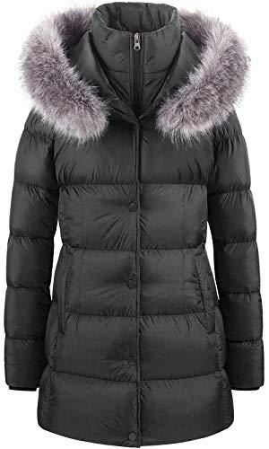 CREATMO US Women's Winter Hooded Coat Bubble Long Warm Puffer Jacket Parka Black L