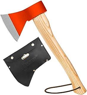 斧 野外キャンプ用品 薪割り 手斧 38cm 鉈 ガーデン用手斧 ケース付き 焚き火台 (レッド)