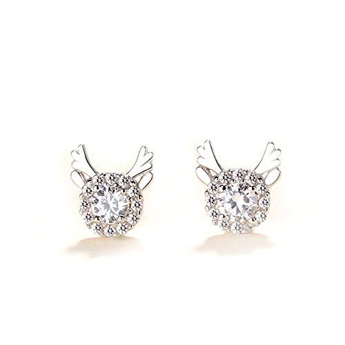 WLM Orecchini con corno di argento sterling creativo femminile/dolce sensibilità/orecchini coreano con diamanti freschi semplici di cervo/orecchini natalizi,Argenteria