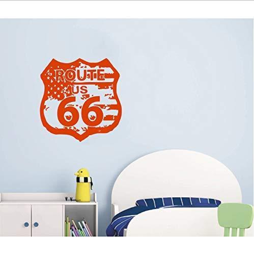 DIY Waterdichte Vinyl Route 66 Road Sign Verenigde Staten Vlag Vintage Muur Grafische Muur Art Foto Thuis Bank Achtergrond Muursticker 56X56Cm