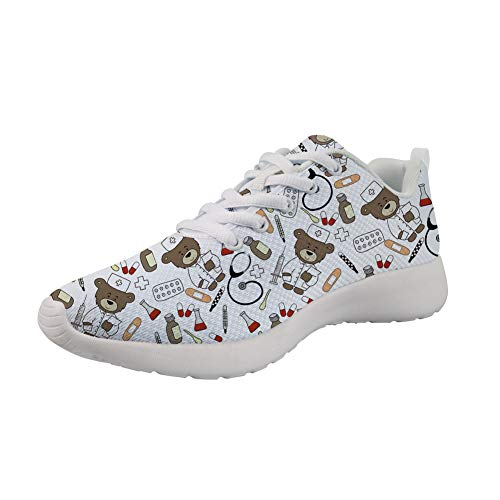 Showudesigns Zapatillas de Running para Mujer Correr Gimnasio Calzado Enfermero Oso Deportivas Zapatos Fitness Gimnasia Sneakers Equipo Medico Blanco