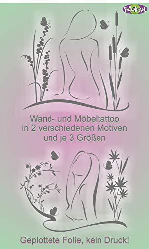 Großer Aufkleber Sticker Frau als Silhouette mit Pflanzen und Schmetterlingen Wandtattoo Möbeltattoo