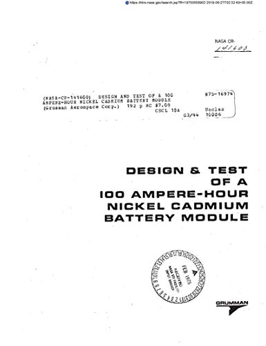 Design and test of a 100 ampere-hour nickel cadmium battery module (English Edition)