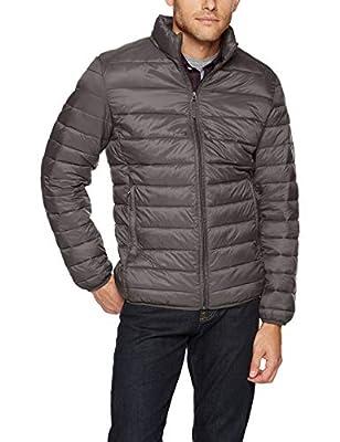 Amazon Essentials Men's Lightweight Water-Resistant Packable Puffer Jacket, Grey, Medium