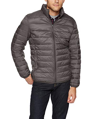 Amazon Essentials Men's Lightweight Water-Resistant Packable Puffer Jacket, Grey, Large