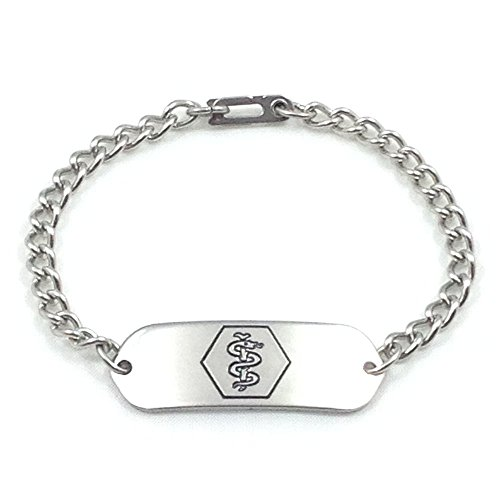 Great Deal! MakeMeThis Medical ID Bracelet IDB-11 - Stainless Steel - Non Allergenic - Adult, Youth ...
