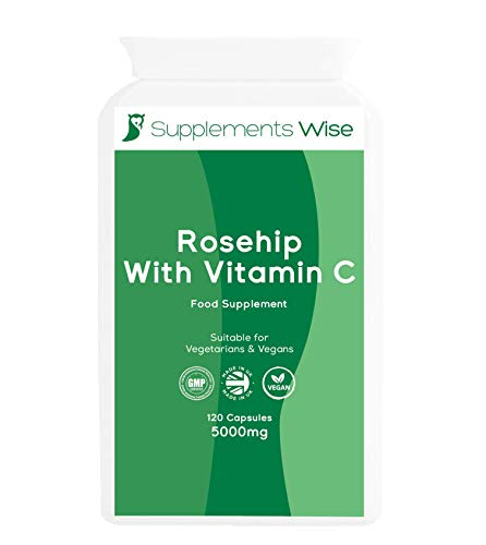 Rosehip Capsules 120 x 5000mg - Joint Care Supplement with Added Vitamin C - Natural Extract for Hip Pain Relief - for Mobility and Freedom from Aches and Stiffness - High Strength Anti Inflammatory