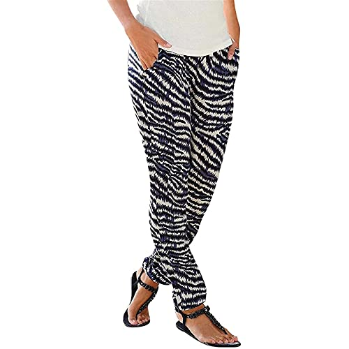 Womens Printed Soft Loose Casual Elastic Waist Loose Jogger Pants with Pockets