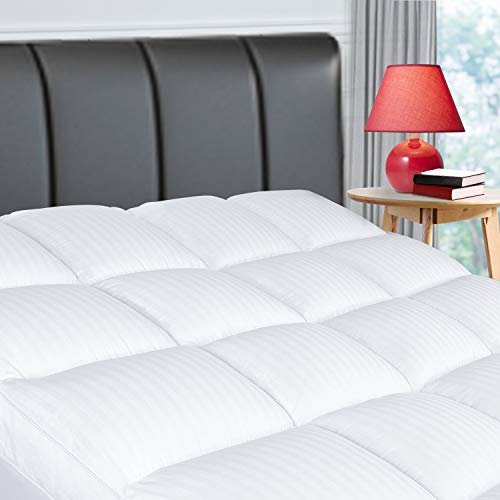 ELEMUSE Queen Cooling Mattress Topper, Extra Thick Mattress pad for Back Pain Relief, Plush Soft Pillowtop with 8-21 Inch Deep Pocket, Overfilled Down Alternative Filling, Hotel Feeling