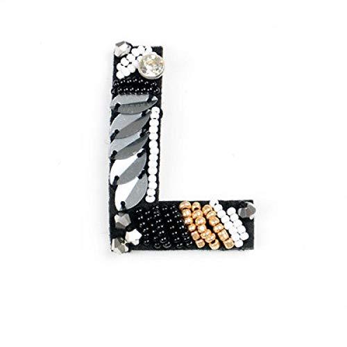 Rodilleras Para Chándal 3 Piezas A-Z Cuentas De Diamantes De Imitación Alfabeto Inglés Letra Aplique 3D Coser Letras Parche Para Ropa Insignia Pasta Ropa Bolsas Zapatos-L