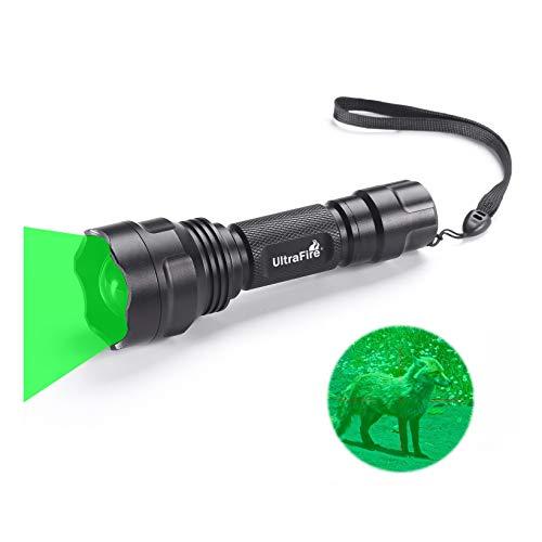 Ultrafire GRÜN-LICHT Taktische Taschenlampe LED Jagd Taschenlampe Zoomable 283 Lumens 520-535 nm Wellenlänge,UF-1505G,Fokus Einstellbar Wasserdicht Grün Taschenlampe Outdoor