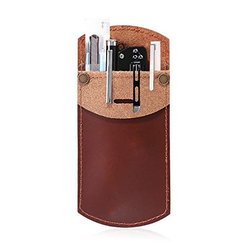 IKEPOD Full Grain Leather Pocket Protector Pen Holder, Handmade Durable Pencil Pouch for Lab Coats/Shirts/Pen Note, Pen Organizer for School Office Hospital Supplies