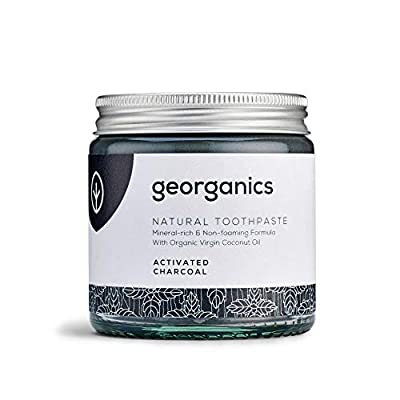 Georganics | Natural + Vegan Mineral-Rich Whitening Toothpaste, Fluoride + SLS Free (Activated Charcoal, 120ml)