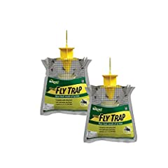 A powerful attractant is included; add water, subtract flies Easy to use and sanitary; never touch bait or flies Insects enter trap through the yellow top cap and drown in the water; lets flies in, but not out Catches up to 20, 000 flies; disposable ...