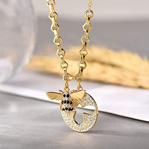 WYZXR Lzz Collier Femme Cristal Autrichien Diamant Doré Abeille Pendentif Kit