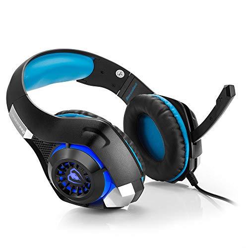 DNACC Kabelgebunden Gaming-Headset 50MM Treiber Surround Sound Gaming Kopfhörer Volume Contro Noise-Cancelling Mikrofon 3.5mm Jack Over-Ear Headphone für PS4 Laptop Xbox one PC Smartphone (Blau)