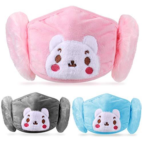3 Pieces Winter Kids Balaclava Face Covering with Earmuffs Cold Weather Ear Warmer Cute Cartoon Ear Muffs for Girls Boys