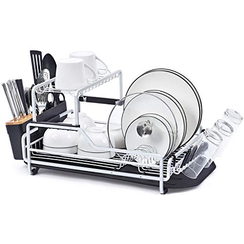 KINGRACK Dish Rack, 2-Tier XXL Aluminum Dish Drying Rack with Drain board, Customizable Dish Holder Set with Removable Top Shelf, Cutlery Holder & Cup Holder, Large Capacity Dish Rack for Kitchen